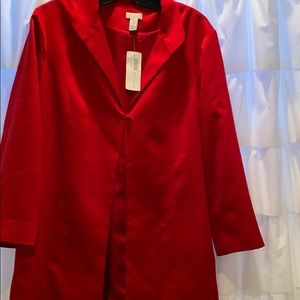 Long sleek red satiny jacket! NEW 🧥 with tags
